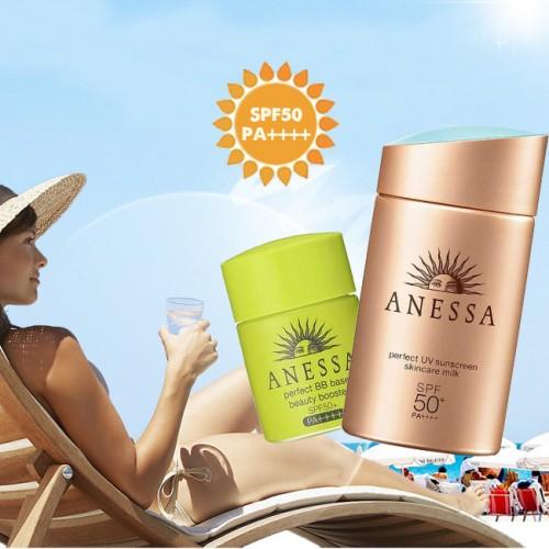 Bộ kem chống nắng Anessa Perfect UV Sunscreen Skincare Gold Milk